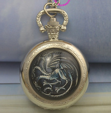 Fashion Quartz NARUTO Dragon Pocket Watch Necklace Woman Fire Family Crest The Game of Thrones Black Silver Glass Fob Watches