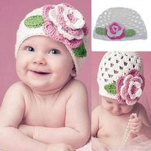 1PCS Hot Selling Cute Baby Winter White Knit Cap Flower Crochet Beanie Handmade Hat For Kids(China)