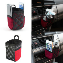 Hot Car Air Outlet Hanging Drinks Storage Accessory Holders Organizer Red White Grid Nets Interior