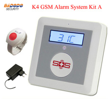Android IOS APP Control Quad Band K4 Wireless GSM Elderly Alarm System With Emergency Panic Button(China)