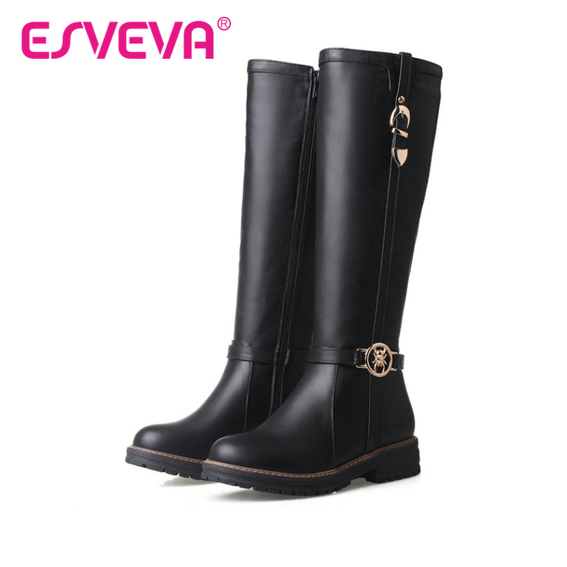 ESVEVA 2017 British Style Knee High Boots Square Heel Platfrom Shoes Women Round Toe Black Winter Boots Riding Boots Size 34-43<br><br>Aliexpress