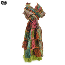 YiLiAN Brand 6 Colors Warm Winter Scarves New Arrival Women Plicated Colour Block Knitted Scarf with Rabbit Fur SF462(China)