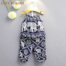 Girls Clothes Sets Kids Clothes 2017 Summer Children Cartoon Elephant Harness Cool National Wind Pants Suits