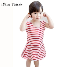 Toddler Kids Baby Girl Stripe Sleeveless Shirt Princess Dress Clothes children infant-party-dress cute casual minnie costume