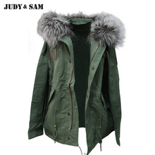 Lady Parka Replace Outer Coat Cotton Fabric Detachable Real Raccoon Fur Collar Short Style
