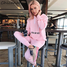 Chicanary Letter Print Women Tracksuit Long Sleeve Jersey Hoodies Joggers 2pcs Casual Pullover Tops Pants Sets(China)