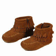 2016 Toddler Girls Shoes Brand Design Double Tassels Kids Boots Fashion Genuine Leather Fringe Boots Ankle Boys Shoes