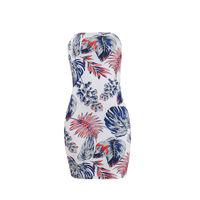 Adogirl Leaves Print Strapless Plus Size Summer Dresses Women Sexy Bodycon Mini Night Club Dress High Quality Cheap Vestidos 13