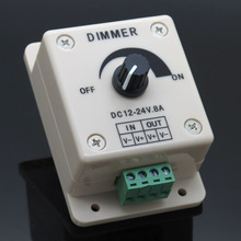 LED Dimmer DC 24V 12V 8A Light Bright Brightness Adjustable Controller Single Color LED controller