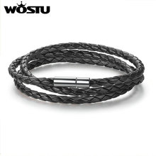 WOSTU 2017 Hot Sale 6 Color 60CM PU Leather Wrap Bracelet With Magnet Clasp High Quality Jewelry For Women Men Pulseira XCJ0063