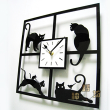 Replacement electronic DIY wall clock mechanism design Home record vintage cute cat fancy art black creative watch classic XM