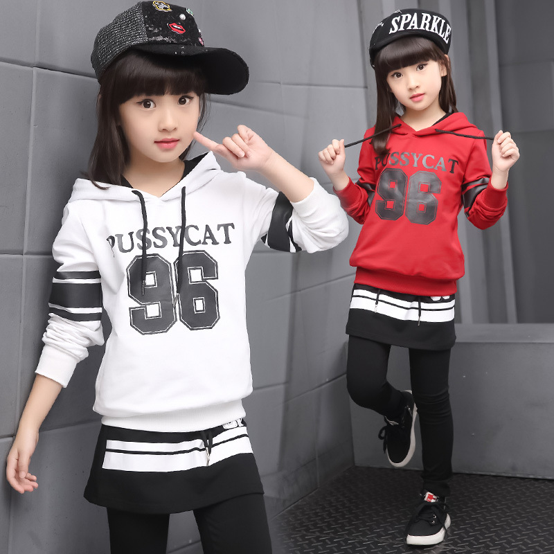 2-Piece Hoodie + Pants Suit Fashion Big Girl Sport Clothing Set Children Spring Clothes <br><br>Aliexpress