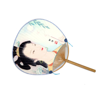 Round Paper Fans Silk fabric Bamboo Handle Fans with Chinese Beauty Diaochan Pattern Chinese Traditional Culture Handwork Crafts