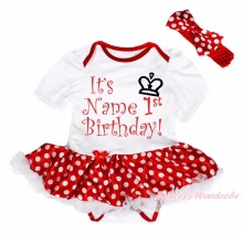 Personalize 1st Birthday White Bodysuit Red Minnie Dots Girls Baby Dress NB-18M
