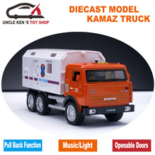 Russian KAMAZ Model, Military Diecast Mack Metal Truck, Children Alloy Toys With Gift Box/Pull Back Function/Music/Light/