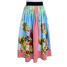 Hot Selling Women Elegant Design Runway Ball Gown Skirt Animal Printed Summer Fashion Skirts Plus Size XXXL Elastric Waist Saia(China)