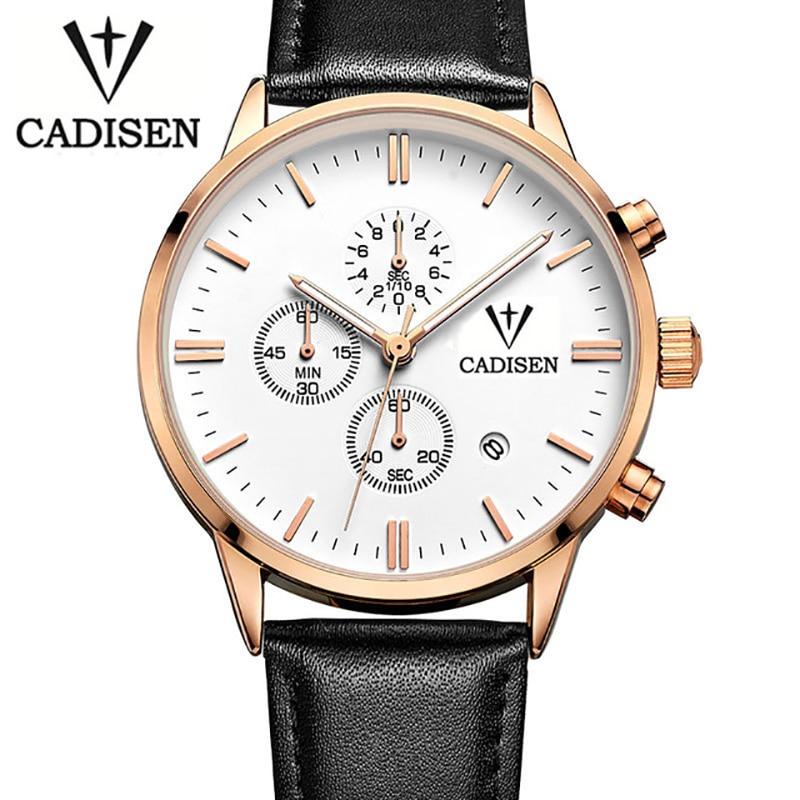 man watches 2016 Luxury Brand CADISEN Business Causal Genuine Leather Watch Fashion Sports Quartz Waterproof Calendar Watch<br>
