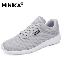 Minika Casual Sneakers Ademend Wandelen Sneakers Vrouwen Lace-up Mesh Outdoor Comfortabele Unisex Schoenen Zapatillas Plus Size(China)
