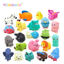 Baby Bath Toys 20pcs Soft Rubber Duck Animals Car Boat Kids Water Toys Squeeze Sound Spraying Beach Bathroom Toys For Children(China)