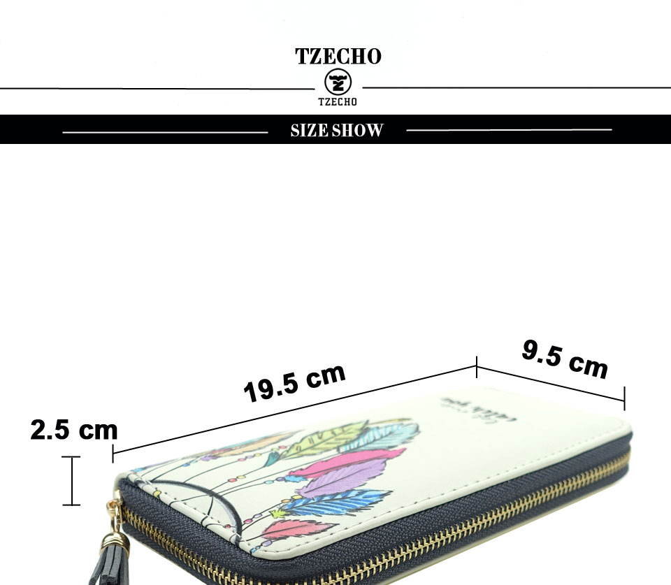 HTB1JyX9RFXXXXXBapXXq6xXFXXXS - TZECHO Women Wallets PU Print Dream Catcher Carton Long Ladies Purses Coin Pocket Card Holder Clutch Zipper Wallets for Women