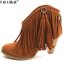 Women Suede Ankle Boots with Tassels Western Cowboy Boots Women Fringe Boots Plus Size 34-43 Autumn Women Shoes XWN0254-5