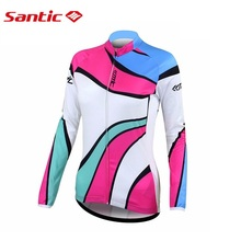 Santic Best Quality Cycling Jersey Colorful Long Sleeve Women Jacket Mountain Bike Jerseys Sportswear Clothing WLC01026