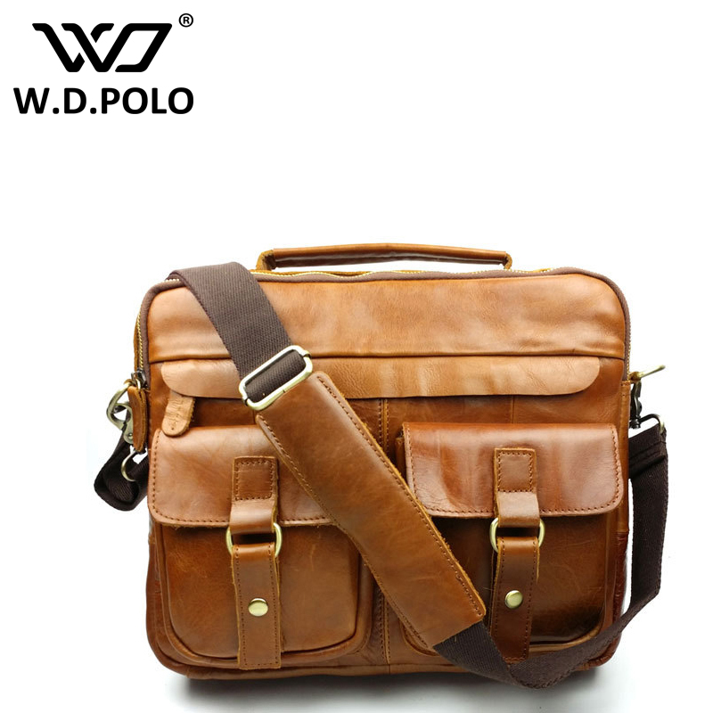 WDPOLO Genuine leather Vintage men messenger bags classical design hot selling high quality mens hand bags easy matching M1839<br>