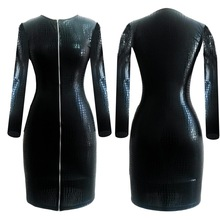 Plus Size Sexy Club Dress Women Clothing Black Snakeskin Faux Leather Zipper Bodycon BBW 2016 Summer New Bandage Pencil Dress(China)