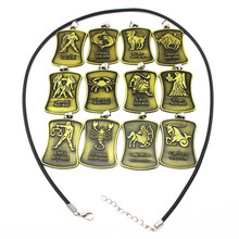 Microheart Bronze Alloy Carving Necklaces 12 Constellations Virgo Leo Cancer Gemini Aries Pendant Women Men Charm Choker Gift
