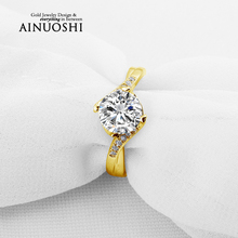 AINUOSHI 10k Solid Yellow Solid Gold Wedding Ring 1.5 CT Round Cut Simulated Diamond Twisted Design Lovers Anniversary Ring Gift