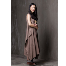 2017 New Summer Women Dresses Comfort Breathe Freely Cotton Linen Pure Color Large Swing Wai Vest Dress Simple but elegant N269(China)