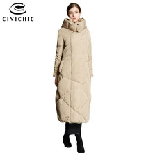 CIVICHIC Hot Fashion Woman Plus Long Down Jacket Winter Thicken Parka Soft Warm Hooded Coat Over Knee Eiderdown Outerwear DC586