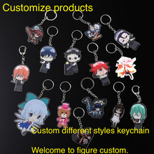 customized transparent double-side Acrylic keychains plastic keyring bag pendant provide picture custom company design wholesale