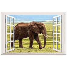 Outside fake window leisurely Elephant 3d stickers Grassland scenery art mural home living room wall decoration vinyl wallpaper