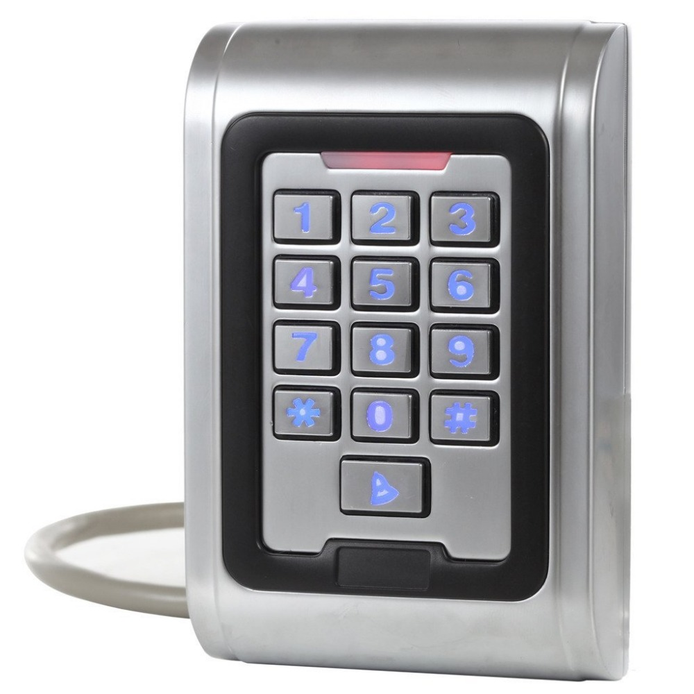 Full Waterproof IP68 and Anti-Vandal Metal Case 2000 Users Proximity EM RFID Standalone Keypad Single Door Access Control System<br>