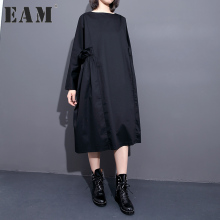 Buy EAM 2018 new spring round neck long sleeve waist fold solid color black loose big size dress women fashion tide JA57101 for $22.36 in AliExpress store