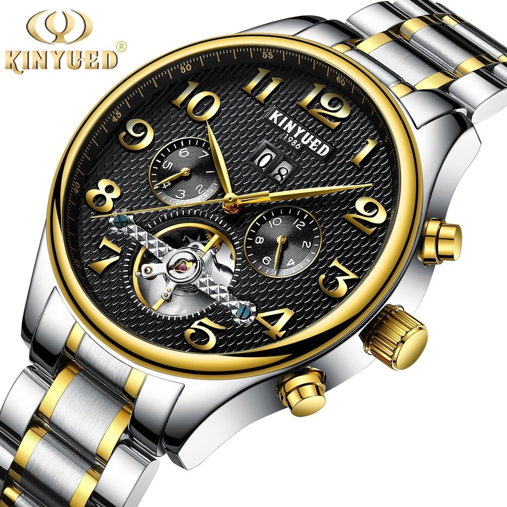 KINYUED 1986 Classic Skeleton Tourbillon Mens Mechanical Watch with Watch Case Leather/Steel Self Winding Horloges<br>