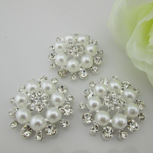 (BT232 33mm)5pcs Alloy White Pearl Diamond Rhinestone Buttons For Diy Hair Accessories(China)