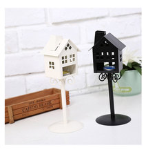 High Quality 2 Colors Standing Design Metal Vintage kiosk House Candlestick Wedding Home Decor Candle Holder(China)