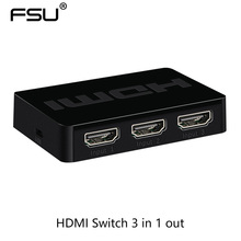 High quality HDMI Switch support 1080P 3D 3 in 1 out with IR Remote Control for HDTV PS3 Xbox360(China)