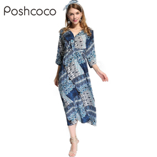 Buy Poshcoco 2017 Summer Boho Floral Print Long Dress Women Beach Summer V-Neck Kimono Sexy Dress Eleagnt Loose Lace-Up Long Dresses for $16.69 in AliExpress store