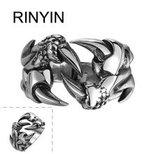 Hot Sale Finger Art Antique Silver Retro Titanium Stainless Steel Ring Punk Biker Jewelry Dragon Claw Ring
