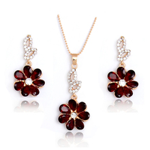 H:HYDE Hot Selling Gold Color Red Shining Flower Austria Crystal Necklace Earrings Set Wedding Bridal Jewelry Set For Women(China)