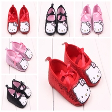 Newborn Baby Girl Shoes Cute Hello Kitty Cartoon Shoes First Walkers Baby Toddler Bow Crib Dress Shoes Princess
