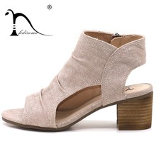 88d405a28 Women Sandals Summer Genuine Leather Heels Open Toe Women s Sandals Low  Block Heel 5.5CM Woman Shoes Sexy Back Strappy
