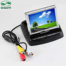 GreenYi Wholesale 6pcs 3.5 Inch TFT LCD Small Car Folding Parking Monitor 2CH Video Input(China)