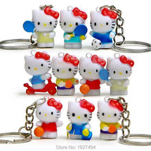 10pcs Hello Kitty Resin Keychains Miniatures Action Figures Anime Figurines Hellokitty Dolls Key Ring Charm Pendant Kids Toys