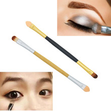 New Arrival Gold Sliver Color Makeup Brush Double-end Eyeshadow Sponge Brush Female Applicator Wood Handle Makeup Cosmetic Tools