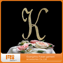 (30 pieces/lot)gold rhinestone letter cake topper  for wedding