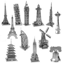 DIY 3D Metal Puzzles Sky Wheel Eiffel Tower Pisa Tower Creative Educational Adults Model Toys For Children Gifts Jigsaw Puzzle
